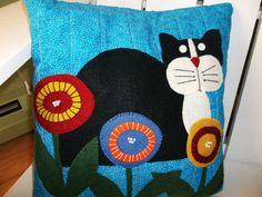 Cat Wool Felt Applique Pillow