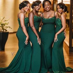 Dark Green African Bridesmaid Dress Spaghetti Straps Long Satin Wedding Guest Party Dress Appliques Beaded Maid Of Honor Dresses Emerald Green Bridesmaid Dresses, African Bridesmaid Dresses, Cheap Bridesmaid Dresses Online, Emerald Green Weddings, Mermaid Bridesmaid Dresses, Wedding Dresses For Maids, Forrest Green Bridesmaid Dresses, Emerald Wedding Colors, Bridesmaid Color