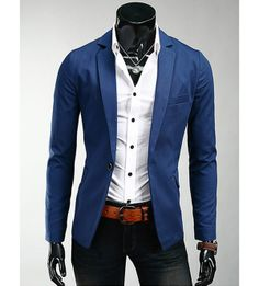 Korean Style Lapel Solid Color Slimming One Button Long Sleeves Polyester Blazer For Men (blue,M) | Sammydress.com