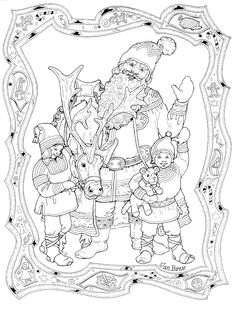 """""""Santa and his Elves"""" Nice detailed coloring page (but light lines) Christmas coloring page courtesy of Jan Brett - a children's book illustrator! Her page has a whole collection of coloring pages."""