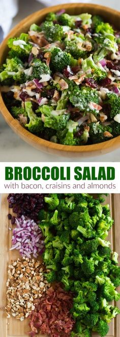 Everyone loves this easy Broccoli Salad recipe made with bacon, almonds, craisins and onion in a delicious creamy and tangy dressing. Serve it at a potluck or bbq or as a side dish for holiday dinner. via salad Broccoli Salad Side Dishes For Bbq, Healthy Side Dishes, Side Dish Recipes, Easy Potluck Side Dishes, Holiday Side Dishes, Bbq Salads, Summer Salads, Easy Broccoli Salad, Whole Foods Broccoli Salad Recipe