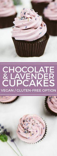 Vegan Chocolate Lavender Cupcakes