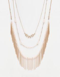 Image 1 ofNew Look Multirow Tassel Necklace