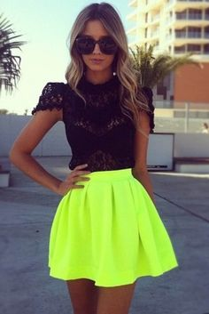 skirt lace top neon yellow fashion black top lime green neon t-shirt blouse shirt black blouse sunglasses flurescent yellow fluro pleated skirt short skirt lime