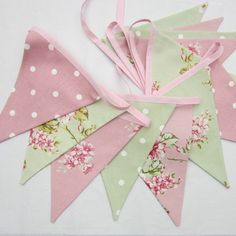 Fabric Bunting Shabby Chic Style Flowers and Dots Pink Sage Green 12 double sided flags Wedding, Christening, Baby Shower, Birthday Decor
