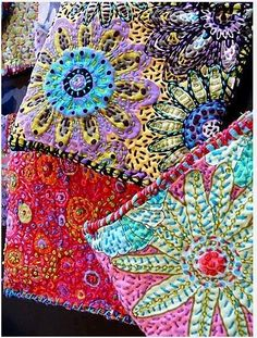 Embroidery and beading by Susan Sorrell on Kaffe Fassett fabric. Beaded Embroidery, Cross Stitch Embroidery, Embroidery Patterns, Hand Embroidery, Crazy Patchwork, Crazy Quilting, Fabric Journals, Textile Fiber Art, Applique