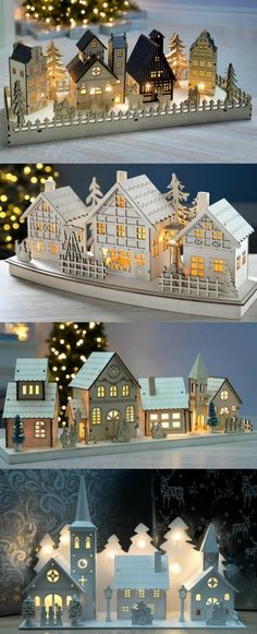 Wooden Christmas village scenes, with trains and music and LED lighting. Wooden Christmas candle bridges or arches and Christmas pyramids. Christmas Candle Bridge, Noel Christmas, Winter Christmas, Christmas Crafts, Christmas Ornaments, Christmas Scenes, Homemade Christmas, Christmas Mantles, Glitter Ornaments