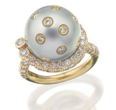 Tahitian South Sea pearl and pink diamond ring, of cross over… - Rings - Jewellery - Carter's Price Guides to Antiques and Collectables