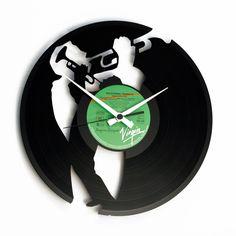 Jazzmusiker Mit Trompete   Vinyl Wanduhr