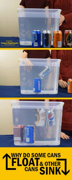 """Floating & Sinking Cans - It's time for another 'Does It Float?"""" science experiment. This time we use cans that are the same size, shape and volume. But some float and others sink....WHY? #CoolScienceHQ #Science #ScienceExperiments"""