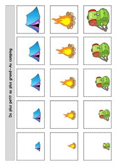 Sample stimuli for PEAK Direct Training - Arrange by size Montessori Preschool, Free Preschool, Preschool Learning Activities, Preschool Worksheets, Kindergarten Goals, Camping Theme, Math For Kids, Kids Education, Croissant