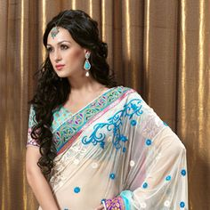 Off White and Aqua Blue Net and Brocade Saree with Blouse Online Shopping: SWY2464D