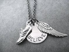RUN BELIEVE FLY Round Pendant Necklace  Runner Necklace on