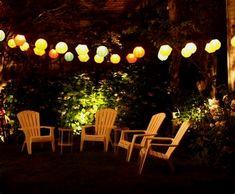 65 Creative DIY Outdoor Lighting for Garden Design Ideas - decorationroom Outdoor Party Lighting, Backyard Lighting, Patio Lighting, Lighting Ideas, Unique Lighting, Landscape Lighting, Outside Garden Lights, Diy Outdoor Furniture, Outdoor Decor