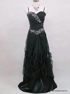Abendkleider Online Brautkleid Abendkleid Lang Schwarz mit Perlen Stick  www.modekarusell.eu
