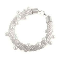 Bransoletka szydełkowo koralikowa Seed Beads & Pearls - Frosted Crystal - Tarragon Art