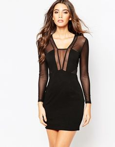 NaaNaa Long Sleeve Mesh Mini Body-Conscious Dress With Plunge Front