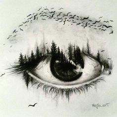 Trees merging into an eye Eye Drawings, Bird Drawings, Cool Drawings, Amazing Drawings, Disney Pencil Drawings, Pencil Art, Drawing Sketches, Amazing Art, Drawing Eyes