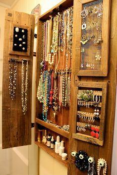 Collier porte - bijoux organisateur - meuble de rangement - collier - Cabinet - bois - bois - fait main - meubles - 44 x 20 x 4,5