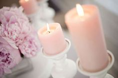 pale pink candle/white candlestick combo