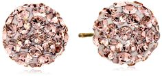 14k Yellow Gold Rose Swarovski Elements Crystal Button Earrings. 14k yellow gold classic crystal stud earrings. Swarovski elements and friction back posts. Duragold is a 14k gold jewelry collection that marries quality, design and superior craftsmanship.