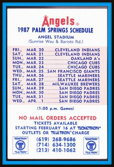 1987 CALIFORNIA ANGELS TICKETRON SPRING BASEBALL POCKET SCHEDULE PALM SPRINGS #Pocket #Schedule