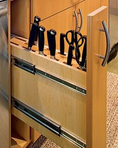 Favorite Knife Storage. I would need this & pull out spice drawer