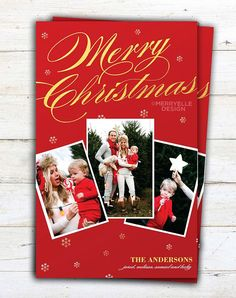 Photo Christmas Card Template: Gold  Merry by MerryElleDesign