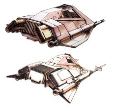 TESB: Two early Ralph McQuarrie sketches for a ONE-man snowspeeder (with no radar operator in the back).  They were a bit too boxy from the front view, so Joe Johnston gave them more wing in the final design.