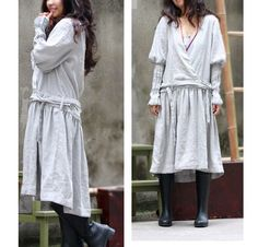 Special Wrap Dress With Folds/ 17 Colors/ RAMIES
