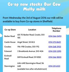 You can buy #OurCowMolly milk at #Coopukfood #Co-op #Sheffield