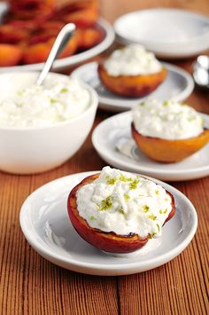Grilled Peaches with Margarita Cream ~ She Wears Many Hats