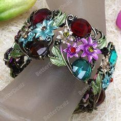 Motley Faceted Resin Coin Beads Flower Bracelet Bangle