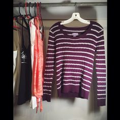 Laura Scott Knit Sweater  Laura Scott Knit Sweater  Purple with white stripes  Small  Gently worn  Please for additional pictures, measurements, or ask questions before purchase  I trade!   Five star rating  Bundle for discount  Make me an offer!  Laura Scott Sweaters Crew & Scoop Necks