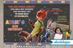Custom Zootopia Birthday Invitation with or without Photo
