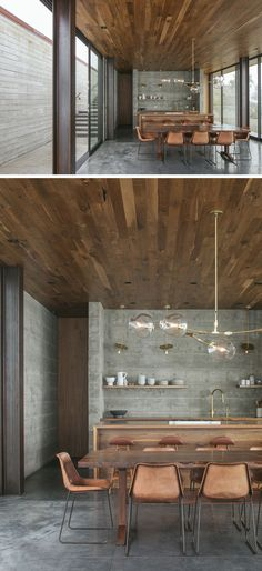 This modern guest house has a wood ceiling concrete floors with heating and rich walnut accents. This modern guest house has a wood ceiling concrete floors with heating and rich walnut accents. Concrete Houses, Concrete Wood, Concrete Design, Concrete Floors, Concrete Kitchen Floor, Concrete Ceiling, Plywood Floors, Stained Concrete, Concrete Countertops