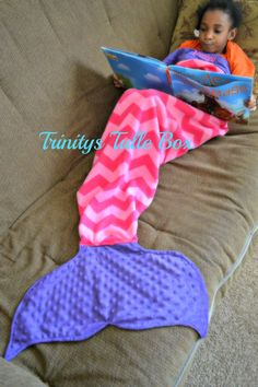 Fleece Mermaid Tail Mermaid Sleeping Blanket by TrinitysTulleBox