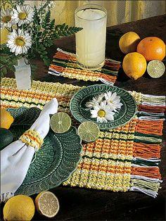 Crochet for the Home - Crochet Placemat Patterns - Beginner Crochet -- Citrus Stripes Place Mats -- Free Pattern