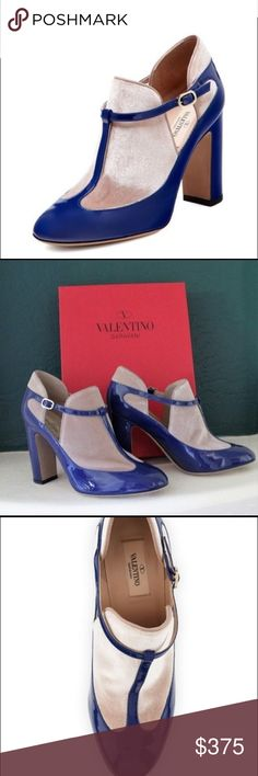 """Valentino Royal Patent Leather T-strap Booties Brand new!  Gorgeous Blue patent leather and nude velvet Valentino round-toe booties with tonal stitching, covered block heels and buckle closure at sides. Includes box. Measurements: Heels 4"""" Size 38 EU Valentino Shoes Ankle Boots & Booties"""