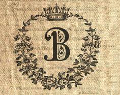 Vintage DIGITAL Monogram in Crown Wreath by TheDecoratedHouse