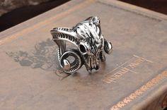 Titanium Argali Head Skull Ring For Men
