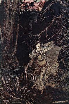 Bertalda in Black Valley Arthur Rackham Vintage Art Print