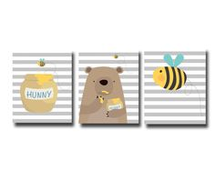 Nursery Yellow and Grey Bear and Bee Art Print Baby by HopAndPop, $28.00