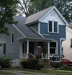 Colonial Revival in Port Dalhousie Colonial Revival Architecture, Blue Siding, Pacific Blue, House Painting, Shed, Cottage, Exterior, Houses, Outdoor Structures