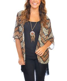 Brown & Gray Jungle Chevron Fringe Open Cardigan by SOB Clothing #zulily #zulilyfinds