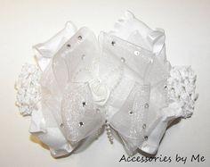 Glitzy White Organza Ruffle Bow Crochet by accessoriesbyme on Etsy, $26.99