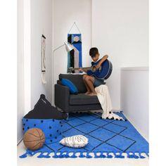 Tapis lavable en machine bleu royal avec franges Bereber Lorena Canals