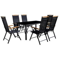 7 Piece Outdoor Dining Set with Folding Chairs Aluminium Black Garden Dining Set, Outdoor Dining Set, Garden Chairs, Garden Furniture, Outdoor Chairs, Outdoor Furniture Sets, Outdoor Decor, Outdoor Living, Folding Furniture