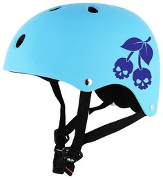Cherry Skulls Tablet Decal Skate Helmet by SewardStreetStudios