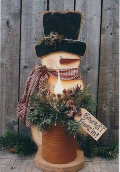 Christmas Snowman with Rusty Can and Candle Light ~ Wood Pattern~